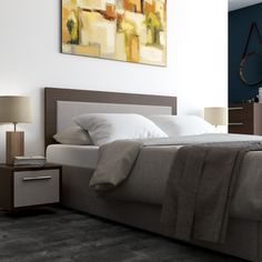 Ottoman Bed with Ava headboard and upholstered pad with floating single bedside drawer