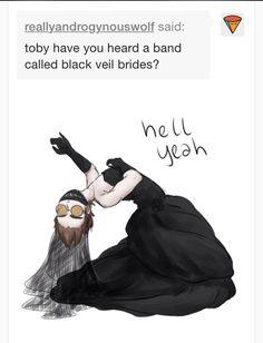 Black veil brides x Creepypasta XD wtf Toby Black Veil Brides, Creepypasta Cute, Creepy Pasta Family, Dont Hug Me, Dhmis, Laughing Jack, Jeff The Killer, My Demons, Scary Stories