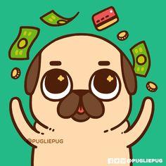 Puglie Pug — It's back to work, but almost pay day ! Cute Animal Drawings Kawaii, Cute Drawings, Pug Kawaii, Pug Wallpaper, Pug Cartoon, Baby Pugs, Pug Art, Kawaii Doodles, Dog Anxiety