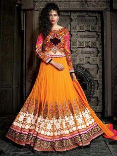 Orange Designer Lehenga Choli Dupatta