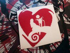 Jack & Sally love Vinyl Decal Sticker by SheWolfMedia on Etsy