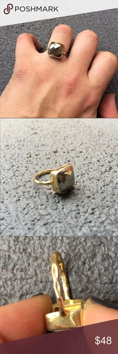Pyrite ring ⭐️NWT⭐️ ⭐️SMOKE/PET FREE HOME⭐️ Handmade by me! 925 sterling silver plated in yellow gold. Pyrite stone. Luckijewels Jewelry Rings
