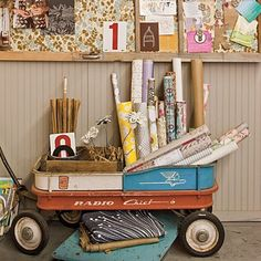 Old wagon with kids art supplies in it?