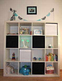 Ikea white bookshelf nursery