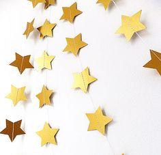Metallic Gold Shimmer 5cm Stars Garland - 'Funky Frills' on NoTHS