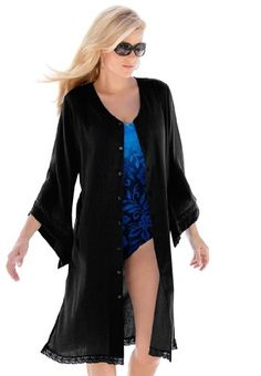 Roamans Plus Size Crochet Trim Swim Cover Up  From Roamans