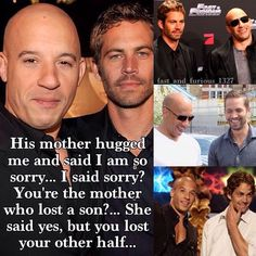 Vin Diesel and Paul Walker. Paul Walker Tribute, Rip Paul Walker, Furious Movie, The Furious, Fast And Furious Memes, Michelle Rodriguez, Gal Gadot, Paul Walker Quotes, Farid Bang