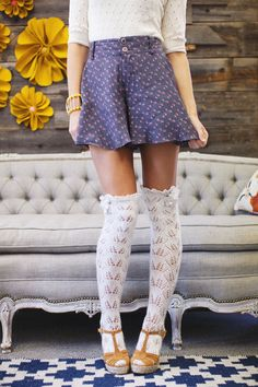 Ruffled Boot Socks Lacy Open Knitted Lace Boot Socks with Crochet Lace Trim and Buttons Ivory, Black, Brown or Gray. $38.00, via Etsy.