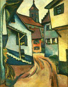 August Macke, Straße mit Kirche in Kandern, 1911
