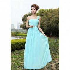 $44.04 Elegant Flower One-Shoulder Rhinestone Decorated Floor Length Bridesmaid Dress For Women