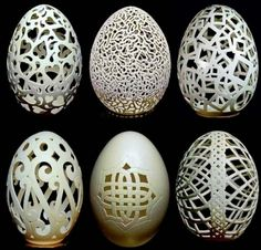 Egg Art: How Wen Fuliang Turns Useless Eggshells into Pricelss Art Pieces Egg Crafts, Easter Crafts, Arts And Crafts, Form Design, Art D'oeuf, Incredible Eggs, Egg Shell Art, Carved Eggs, Hand Carved