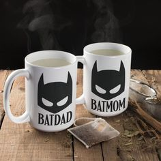Batdad & Batmom Mug Set for His and Hers | Mugs Set | Looking for cute, modern, ceramic coffee mug set for dad and mom? These high quality 11 or 15-ounce ceramic coffee mugs are the perfect novelty gift for anyone and everyone. It's printed by laser engraved or UV Laser and dishwasher and microwave safe. Click to collect this mug. #mugsset #couplemugset #valentinesgift #giftforher #giftformother #giftforhim #giftforher #ceramicmug #coffeemug #ceramiccoffeemug