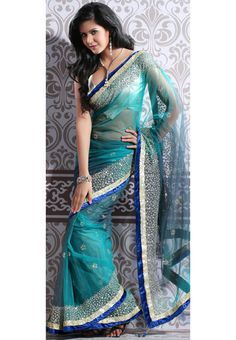 Aqua Blue Soft Net Saree with Blouse