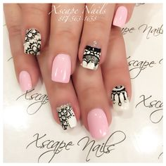 Tribal pink nails
