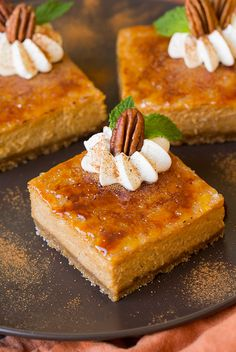 Pumpkin Brulee Cheesecake Bars - Cooking Classy