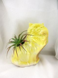 Awesome vintage yellow cat planter