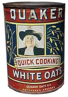 Vintage Quaker Oats Tin! L♥ve old antique tin cans only problem is, I ran out of room on my shelf!