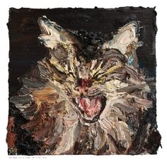 Allison Schulnik, Cat Head, 2011. Oil on Linen 23 1/2 X 23 1/2 in
