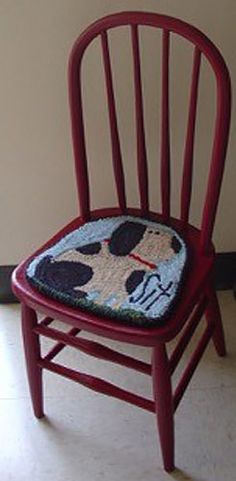 Rug-Hooked-chair-seat-Frank-Bielec – Rug making Penny Rugs, Seat Pads, Chair Pads, Rug Hooking Patterns, Rug Patterns, Punch Needle Patterns, Latch Hook Rugs, Rug Inspiration, Hand Hooked Rugs
