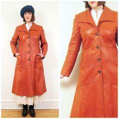 Vintage 1970s Brown Leather Coat / 70s Italian by BasyaBerkman, $80.00