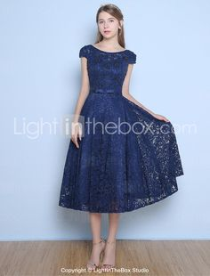 91b410b89f1   32.00  A-Line Jewel Neck Tea Length Lace   Satin   Tulle Beautiful Back  Cocktail Party Dress with Beading   Bow(s)   Sash   Ribbon by LAN TING  Express