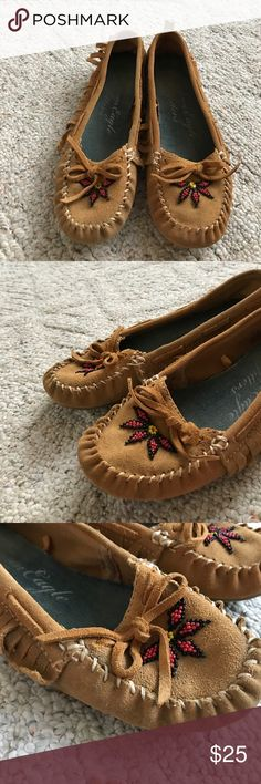 American Eagle outfitters moccasins American Eagle outfitters moccasins beaded toe front American Indian vibe. Very cute perfect with jeans American Eagle Outfitters Shoes Moccasins