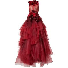Marchesa flower petal embellished dress ($20,200) ❤ liked on Polyvore featuring dresses, marchesa, red, embelished dress, blossom dress, red cocktail dress and red dress