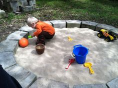Build your own sandbox: cinderblocks and sand! Creates hours of imaginary play for the whole family!!