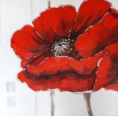 tableau peinture sur toile fleur red wild rose 2 80x80cm