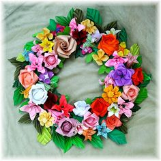 Origami - Display Ideas - paper flower wreath