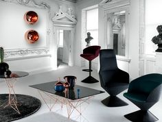 Interior Design Trends 2015   The Dark Color Schemes are Back upholstered stool tom dixon