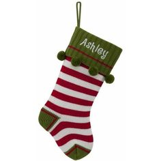 In a signature color palette of red, green and white, the Striped Knit Christmas Stocking is the perfect accent for hiding tiny treasures. Fun stripes, sweet pom-poms and a customized cuff give it an extra special look and feel. Velvet Christmas Stockings, Christmas Knitting, Crochet Christmas, First Christmas, Christmas Ideas, Christmas Gifts, Holiday, Tiny Treasures, Striped Knit
