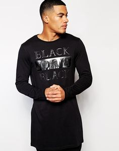 ASOS Super Longline Long Sleeve T-Shirt With Black Print