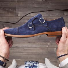 Our Blue suede monk strap - Only 199 pairs made   www.Grandfrank.com