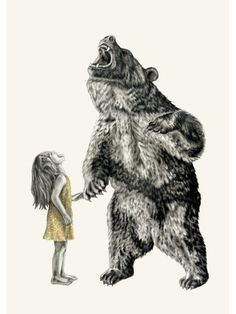 Bear With Me Illustration Print -Lauren Mortimer - Girl Art And Illustration, Urso Bear, Bear Drawing, Drawing Girls, Graphite Drawings, Bear Art, Limited Edition Prints, Spirit Animal, Lion Sculpture