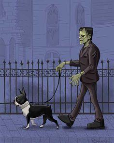 boston terrier art, print, frankenstein monster, bride of Frankenstein, walking a boston terrier The Munsters, Terrier Breeds, Dog Breeds, Boston Terrier Art, Boston Terrier Halloween, Rockabilly, Cult, Bride Of Frankenstein, Pitbull Terrier