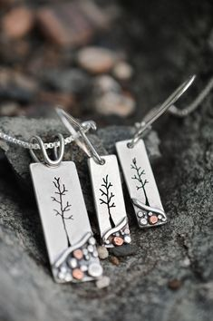 Pebble Landscape Series by Beth Millner Jewelry - Gifts That Matter - Hand werk Metal Jewelry Handmade, Stamped Jewelry, Artisan Jewelry, Vintage Jewelry, Pebble Landscaping, Jewelry Gifts, Jewelery, Metal Stamping, Jewelry Trends
