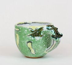 Handmade ceramic  coffee cup with ornament one piece by PotterAsh