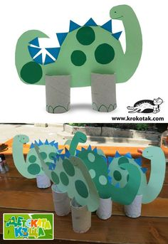 Easy to make paper dinosaur (dinoszaurusz papírguriga lábakkal) *dinoszaurusz *állatos *papír *papírguriga Kids Crafts, Craft Activities For Kids, Toddler Crafts, Projects For Kids, Toilet Roll Craft, Toilet Paper Roll Crafts, Paper Crafts, Paper Toys, Diy Paper