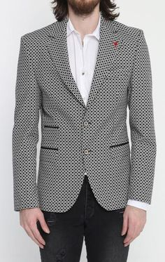 Black Checkered Fitted Blazer