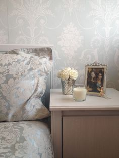 Duck egg bedside table feature wall damask Laura Ashley josette wallpaper Home Bedroom, Master Bedroom, Bedroom Decor, Bedrooms, Duck Egg Blue Laura Ashley, Laura Ashley Josette Wallpaper, Duck Egg Blue Bedroom, My Room, New Homes