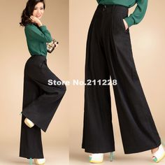 2013 Autumn Fashion Formal Womens High Waist Black Trousers  Woman Plus size XXL Linen Wide Leg Pants For Women , Woman Culottes