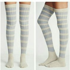 Host Pick- Free People Thigh High Rugby Socks BRAND NEW! Free People Thigh High Rugby Striped Socks - Blueish Gray & White- Retail $24.00 Free People Other