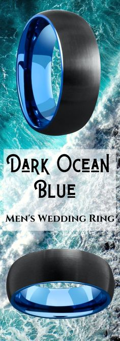 So many unique mens wedding rings to pick from. I really like this collection of blue and black rings. Most of these mens wedding rings are crafted out of tungsten carbide. This mens ring has a blue polished finished with a black brushed textured top. Black Wedding Rings, Unique Wedding Bands, Black Rings, Wedding Men, Wedding Engagement, Dream Wedding, Wedding Songs, Wedding Ideas, Engagement Rings