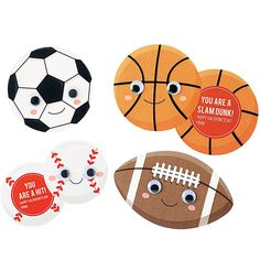 """Have a ball sending Valentine's Day greetings with these all-star sports themed cards. Craft kit makes 30 sports balls (approximately 5.5"""" x 3.5"""" each). Craft kit includes: pre-cut shapes • googly eye"""