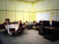 The PSAV tech team, setting up all the hardware for the conference.