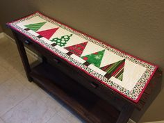 I really enjoyed having my Halloween table runner, so I tried to do a Thanksgiving/Fall one. Unfortunately it was an epic fail! I blame part. Patchwork Table Runner, Table Runner And Placemats, Table Runner Pattern, Quilted Table Runners, Christmas Tree On Table, Christmas Runner, Christmas Crafts, Christmas Things, Crochet Christmas