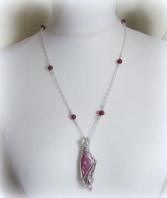 Wire Wrapped Necklace  Red Free form Scimitar by DesignbySheila
