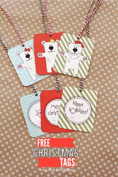Free Christmas Tags from Kiki and Company. 6 different designs.