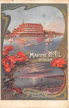DURBAN, SOUTH AFRICA ~ MARINE HOTEL, POSTER STYLE PC ~ used 1920 | eBay Durban South Africa, Vintage Hotels, Luggage Labels, Pilgrimage, Vintage Postcards, Travel Posters, Art Decor, Vintage World Maps, Congratulations